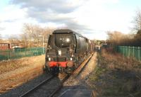 Bulleid <I>Battle of Britain</I> Pacific no 34067 <I>Tangmere</I> approaching Lostock Hall on 10 February 2011 on its second test run following major overhaul. The test was conducted over the <br> Carnforth-Hellifield-Blackburn-Preston-Carnforth loop with a rake of WCRC coaches and Class 47 no 47760 on the rear.<br> <br><br>[John McIntyre&nbsp;10/02/2011]