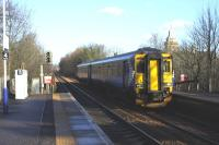 156508 coming to a halt at Pollokshaws West on a service for Barrhead on 10th February 2011, a sight that hasn't really changed that much over the years [see image 7570]<br><br>[Graham Morgan&nbsp;10/02/2011]