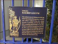 Plaque attached to a gate at Stirling station, photographed on 12 February 2011.<br><br>[John Yellowlees&nbsp;12/02/2011]