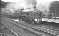 Schools class no 30925 <I>Cheltenham</I> and Fowler 2P no 40646 prepare to leave Nottingham Victoria on 13 May 1962 with the 9-coach RCTS <I>East Midlander No 5</I> rail tour bound for Darlington.<br><br>[K A Gray&nbsp;13/05/1962]