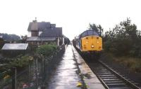 37511 stands in the rain at Warcop station in August 1988 with a munitions train. The line from Appleby was closed by BR the following year. Warcop is now the home of the Eden Valley Railway.<br><br>[Ian Dinmore&nbsp;23/08/1988]