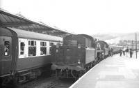 BR Standard class 4s 75019+75027 run back along platform 3 at Skipton having been relieved by Black 5s 45073+45156 on the <I>Farewell to BR Steam</I> special on 28 July 1968. [See image 27896] <br><br>[K A Gray&nbsp;28/07/1968]