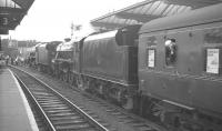 Black 5s 45073+45156 at Skipton on 28 July 1968 with the MRTS/SVRS <i>Farewell to BR Steam</I> about to leave on the next leg to Rose Grove. The pair had taken over from 75019+75027 who had brought in the special from Carnforth via Hellifield.   <br><br>[K A Gray&nbsp;28/07/1968]