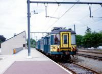 SNCB / NMBS emu no 115 (Type AM 54) awaits custom at Eupen in July 1989.<br> <br><br>[Colin Miller&nbsp;/07/1989]