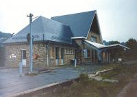 Malmedy station in July 1989. Rebuilt post-war, closed and derelict, last used as a night club. Behind the camera was a single relaid reballasted track from which all the other tracks had been disconnected.<br> <br><br>[Colin Miller&nbsp;/07/1989]