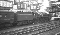 72000 <I>Clan Buchanan</I> stands at Carlisle platform 4 following arrival with the 7.00am from Glasgow Central on 4 August 1962.<br><br>[K A Gray&nbsp;04/08/1962]