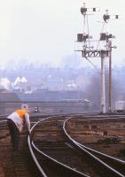PW checks being carried out at Crewe Junction, Shrewsbury, in 1985. [With thanks to Vic Smith and J�rg Ehrsam]<br> <br><br>[Ian Dinmore&nbsp;//1985]