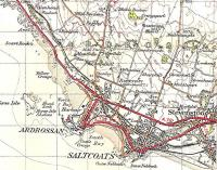 'The Three Towns' is the local name for the contiguous settlements of Ardrossan, Saltcoats and Stevenston.� As you can see from this 1945 OS One Inch map there was once real railway competition even in this small pond with nine passenger stations between three small close-packed towns.� It was� the former Lanarkshire and Ayrshire Railway's line which lost out.� All the stations open then are open today, though at the end of the branch Ardrossan Winton Pier was cut back a bit after being renamed Ardrossan Harbour.� The other two Ardrossan stations are Ardrossan Town, then, on the border with Saltcoats, Ardrossan South Beach.� Crown Copyright 1945.<br> <br><br>[David Panton&nbsp;//1945]