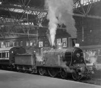CR123 at Princes Street station, Edinburgh, on 19 April 1965 with the BLS <I>Scottish Rambler No 4</I> (Train A). The special was scheduled to depart at 3.5pm for Carstairs, where it would meet up with ex-GNSR no 49 <I>Gordon Highlander</I> bringing Train B from Leith Central.<br><br>[K A Gray&nbsp;19/04/1965]