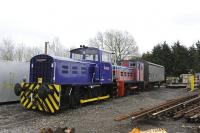 Swindon and Cricklade Railway's two Fowler shunters on PW work on 22 February 2011.<br> <br><br>[Peter Todd&nbsp;22/02/2011]