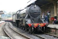 Class S15 4-6-0 no 825 with its smoke deflectors removed, has just brought a train from Whitby into the platform at Pickering on 28 September 2010. [See image 25833]<br><br>[John Furnevel&nbsp;28/09/2010]
