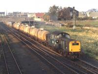 Final picture of the day as the light starts to fade on a pleasant October afternoon in 1970. Clayton D8580 passes Niddrie North Junction at 16.39 with trip E13 from Leith South destined for Millerhill yard. <br> <br><br>[Bill Jamieson&nbsp;13/10/1970]