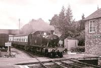 GWR 2-6-2T 5553 running into Williton Station from the east on 25 September 2004.<br> <br><br>[Peter Todd&nbsp;25/09/2004]