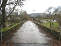 The bridge that carried the Dunblane, Doune and Callander Railway over the Keltie Water. View looks west towards Callander in February 2011.<br><br>[Michael Gibb&nbsp;12/02/2011]
