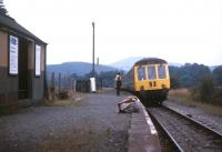 A Central Wales Line DMU calls at the lonely outpost of Cynghordy in the summer of 1971.<br> <br><br>[David Spaven&nbsp;//1971]