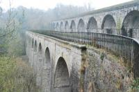 Chirk Aquaduct (left) on the Llangollen branch of the Shropshire Union Canal was later paralleled by Chirk Viaduct (right) of the Shrewsbury Oswestry and Chester Junction Railway. The view looks south.<br><br>[Ewan Crawford&nbsp;21/02/2011]