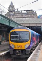 185 140 on a morning TransPennine service to Manchester Airport preparing to leave Edinburgh Waverley platform 18 on 26 February 2011.<br> <br><br>[Bill Roberton&nbsp;26/02/2011]
