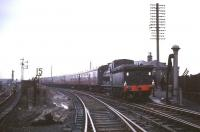 J36 no 65345 with <I>Scottish Rambler no 5</I> at Bathgate Upper on 11 April 1966, having recently brought the special back from a visit to Westfield. [See image 23043]<br><br>[Robin Barbour Collection (Courtesy Bruce McCartney)&nbsp;11/04/1966]