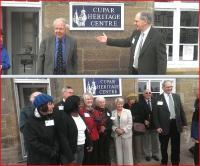 Cupar Heritage chairman Guthrie Hutton at the opening of the new Cupar Heritage Centre on 14 April 2012 seen (above) introducing Sir Bob Reid and (below) with some of the local volunteers who have been involved with the project [see adjacent news item].<br><br>[John Yellowlees&nbsp;14/04/2012]