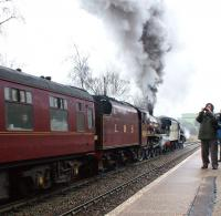 The Railway Touring Company <I>Buxton Spa Express</I> hauled by Black 5 44871 + Jubilee 5690 <I>Leander</I> working hard through Chapel-en-le-Frith station on the climb towards Dove Holes on 26 February with the outward leg of the tour. <br> <br><br>[John McIntyre&nbsp;26/02/2011]