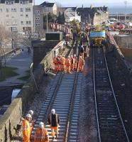 Track renewal�on the down line at Burntisland just�west of the station on 27 February, looking over the viaduct by the harbour.<br><br>[Bill Roberton&nbsp;27/02/2011]