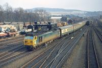 The 08.35 from Birmingham New Street headed by class 50 no 436 is within sight of its final destination as it approaches Perth station close to its scheduled arrival time of 16.25 on the afternoon of Thursday�9th April 1970. <br> <br><br>[Bill Jamieson&nbsp;09/04/1970]