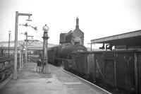 45342 gets the road with a freight at the north end of Carnforth station in 1968.<br><br>[David Spaven&nbsp;//1968]