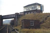 Niddrie North signal box on Sunday 22nd� November 1970, showing its elevated position adjacent to the by then lifted Lothian Lines. The tracks on the lower level�lead to Niddrie West Junction [see image 33009].<br> <br><br>[Bill Jamieson&nbsp;22/11/1970]