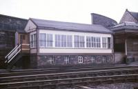View across the running lines in July 1986 to Workington Main No 3 signal box.<br><br>[Ian Dinmore&nbsp;/07/1986]