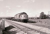 37074 with a northbound freight passing the site of the former Oakle Street Station (closed 1964) on the Gloucester to Newport�line on 26 September 1987. <br><br>[Peter Todd&nbsp;26/09/1987]