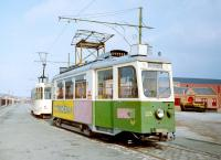 Graz and Brussels trams running on the short tram line at Summerlee museum in 1989. <br><br>[Colin Miller&nbsp;//1989]