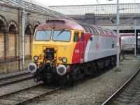'Thunderbird' 57302 <I>Virgil Tracy</I> awaits a resue call in the short siding opposite Platform 11 at Crewe Station on 2 March 2011.<br><br>[David Pesterfield&nbsp;02/03/2011]