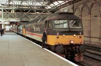 47604+47593 with a southbound WCML service preparing to depart from Edinburgh Waverley in 1992.<br> <br><br>[Bill Roberton&nbsp;//1992]