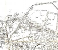 This is an extract from an Air Raid Precautions edition map of <br> Edinburgh at a special scale.� There's no publication date, but the <br> imprint date appears to be 1947 which makes me wonder what the <br> government was thinking.� Anyway the once-important port of Granton is hoaching with railway lines.� Pilton Junction West serves the gasworks, which once had its own station (where it says 'FB').� The CR branch split again at the romantic-sounding Breakwater Junction (and I doubt very much whether that sheepfold was really still there in 1947).�Granton [Harbour] station is shown as open, but it had closed in 1930.<br> <br><br>[David Panton&nbsp;//1947]