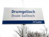 Sign at Drumgelloch, the last of the new stations on the Aidrie - Bathgate line, which opened to passengers on Sunday 6 March 2011.<br><br>[John Yellowlees&nbsp;06/03/2011]