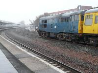 Class 31 no 31106 is about to propel DB999508+DBSO9701 from Kilmarnock towards Greenburn on 4 March 2011 during operations with the 2Q88 Network Rail track measurement train.<br><br>[Ken Browne&nbsp;04/03/2011]