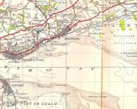 Part of the One Inch OS map of 1945 showing the D&A Joint line east of Dundee, and the start of the Forfar direct line.� Elsewhere some efforts were taken to avoid having two stations with the same name, but Scotland seemed to manage with two Barnhills, here and in Glasgow, as well as the signal box near Perth.� Note the closed Buddon Siding station.� The camp and firing ranges are still there, and disconcerting sounds of gunfire (which famously doesn't sound like gunfire) can be heard in the Barry area. Also worthy of note is the ferry route between Tayport and Broughty Ferry, once an important link (along with the Granton - Burntisland ferry) in the Edinburgh and Northern Railway's route north from the capital. [See image 14217]. Crown copyright 1945.<br> <br><br>[David Panton&nbsp;//1945]