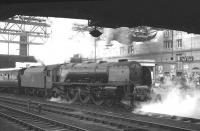 Stanier 'Coronation' Pacific no 46242 <I>City of Glasgow</I> has just brought the 1035am Glasgow Central - Blackpool train into platform 4 at Carlisle on 17 August 1963. <br><br>[K A Gray&nbsp;17/08/1963]