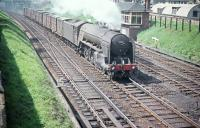 A2 Pacific no 60521 <I>Watling Street</I> passes Craigentinny signal box on 19 June 1958 with an up freight comprised of first generation wooden containers. <br><br>[A Snapper (Courtesy Bruce McCartney)&nbsp;19/06/1958]