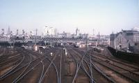 The Aberdeen skyline in this early 1973 view north, with the passenger station to the left and Guild Street freight depot / Freightliner Terminal to the right.<br> <br><br>[David Spaven&nbsp;//1973]