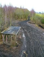 The Waverley route trackbed looking south on 5 March from the B704 road bridge near the junction for the former Lady Victoria Colliery. View is towards Gorebridge, with Newtongrange around half a mile behind the camera. <br><br>[John Furnevel&nbsp;05/03/2011]