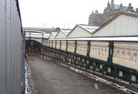 The south ramp at Waverley, closed for resurfacing during station <br> renovation works.� Photographed on 12 March 2011, a day of sleety snow across the Central Belt.<br><br>[David Panton&nbsp;12/03/2011]