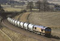 EWS 66088 nears Gleneagles with a northbound cement train on 9 March 2006.<br><br>[Bill Roberton&nbsp;09/03/2006]