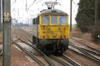 Freightliner 86609 runs south through the loops at Drem on 17 March 2011.<br><br>[Bill Roberton&nbsp;17/03/2011]