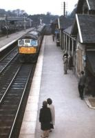 A Birmingham Type 2 slows the 08.40 Struan-Perth local stopping service (a casualty of the Beeching Report two years later) into Blair Atholl on 23rd March 1963.<br><br>[Frank Spaven Collection (Courtesy David Spaven)&nbsp;23/03/1963]