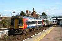 An East Midlands service from Nottingham to Skegness arrives at <br> Sleaford station on 18 March 2011. This south Lincolnshire junction station has three platforms and two signalboxes (East and West), with a further two (North and South) in the immediate vicinity. <br> <br><br>[John McIntyre&nbsp;18/03/2011]
