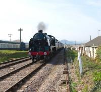 King Arthur class 4-6-0 no 30777 <I>Sir Lamiel</I> running into Blue Anchor station on the West Somerset Railway on 19 March 2011.<br> <br><br>[Peter Todd&nbsp;19/03/2011]