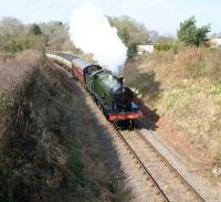 Scene on the West Somerset Railway on 18 March 2011 with ex-GWR 2-8-0 no 2807 en route from Williton to Crowcombe.<br><br>[Peter Todd&nbsp;18/03/2011]