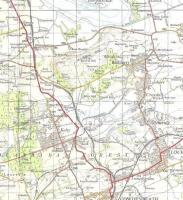 The direct line to Perth runs north to south in this extract of the <br> 1957 OS One Inch map.� Kelty station closed in 1930, surprisingly early; perhaps it succumbed to bus competition being rather far from the centre.� The station to the north was Blairadam.� This was very much coal-mining country and there are plenty of colliery lines.� The trackbed of the one between Kelty and Lochore is now substantially underwater as an artificial lake and country park have been created.� It is called Lochore Meadows, a name which would have sounded rather sarcastic at the time of the map.� Crown copyright 1957.<br> <br><br>[David Panton&nbsp;//1957]