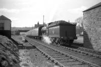 The Branch Line Society <i>Scott Country Rail Tour</i> about to leave Earlston on 4th April 1959 behind class D34 4-4-0 no 62471 <I>Glen Falloch</I> on its way to Greenlaw. The excursion ticket for the special read <I>'Galshiels to GALASHIELS via Selkirk Galashiels Earlston Gordon Greenlaw Nisbet & Jedburgh.'</I> <br><br>[Robin Barbour Collection (Courtesy Bruce McCartney)&nbsp;04/04/1959]
